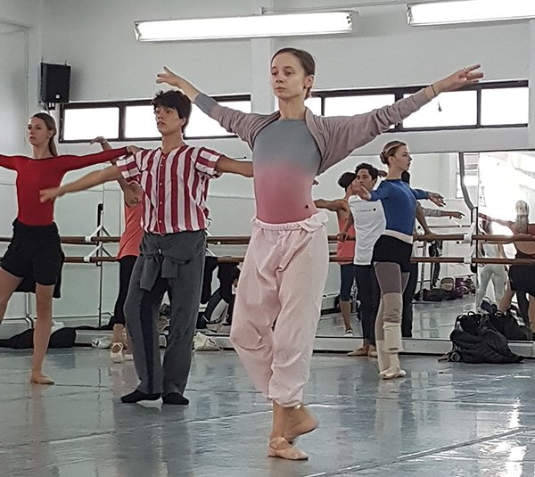 Many dancers brought their Yumiko leotards for class and rehearsals in Mexico City. Pictured: Maria Kochetkova wearing Yumiko Black Label Dip Dye, Anneleen Dedroog in Yumiko SOFIANE, and Whitney Jensen wearing KUMIKO