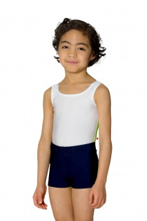 Kid's Leo Top with Side-Stripe; Body: Nylon White; Side Stripe: Nylon Chartreuse