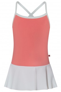 Kids Lilia, T-Peach with N-White skirt and N-White trim and straps
