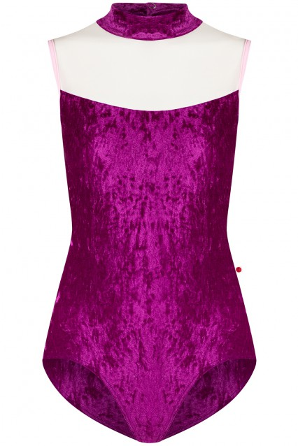 Camila Velvet Lady with Mesh White and Techni Rose trim