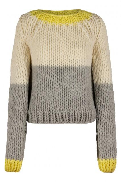 Bone White and Dove Grey Sweater with Sunshine Yellow trim