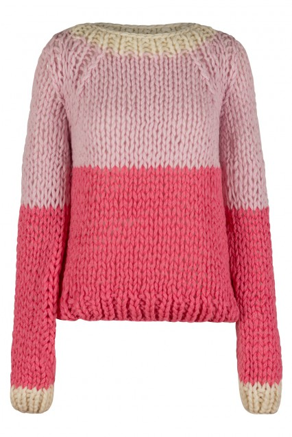 Powder Pink and Rosey Pink Sweater with Bone White trim