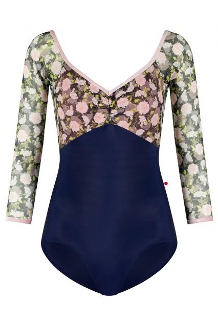 Elli N-Dark Blue with Floral Mesh Overlay
