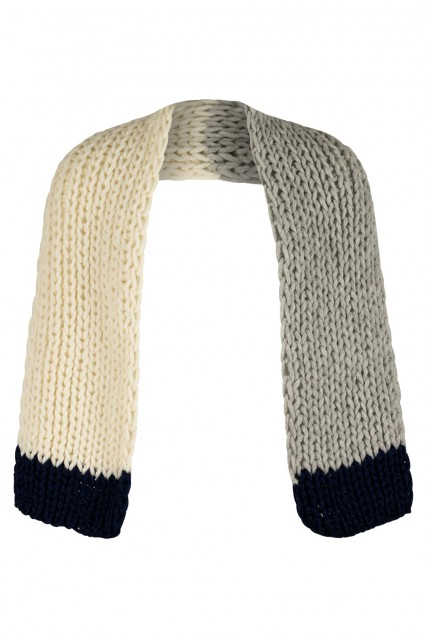 Bone White and Dove Grey Scarf with Deep Blue trim
