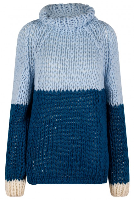Cloud Blue and Oxford Blue Sweater with Bone White trim