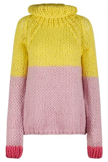 Sunshine Yellow and Powder Pink Sweater with Bone White trim