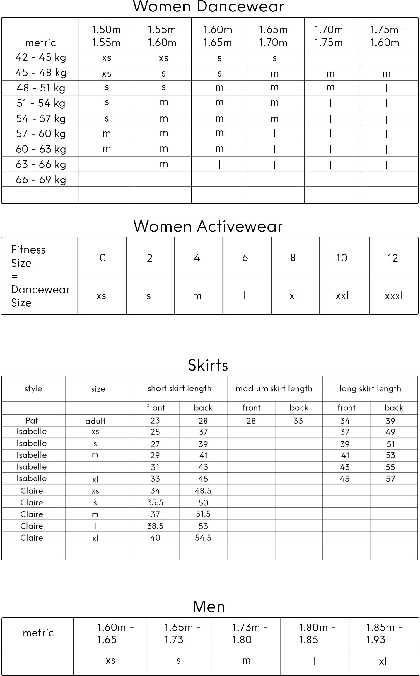 yumiko size charts metric
